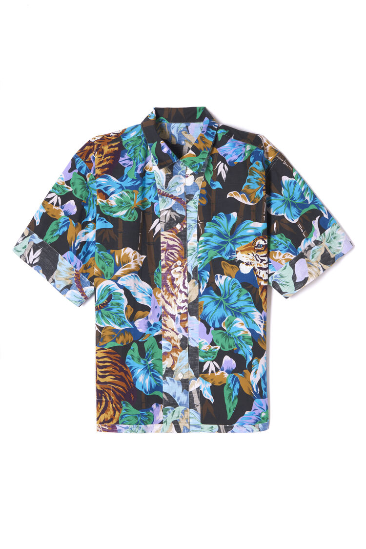 ANTHRACITE 'Bamboo Tiger' reversible shirt for men KENZO
