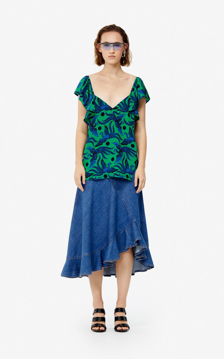 BOTTLE GREEN Frilled 'Flying Phoenix' silk top for women KENZO
