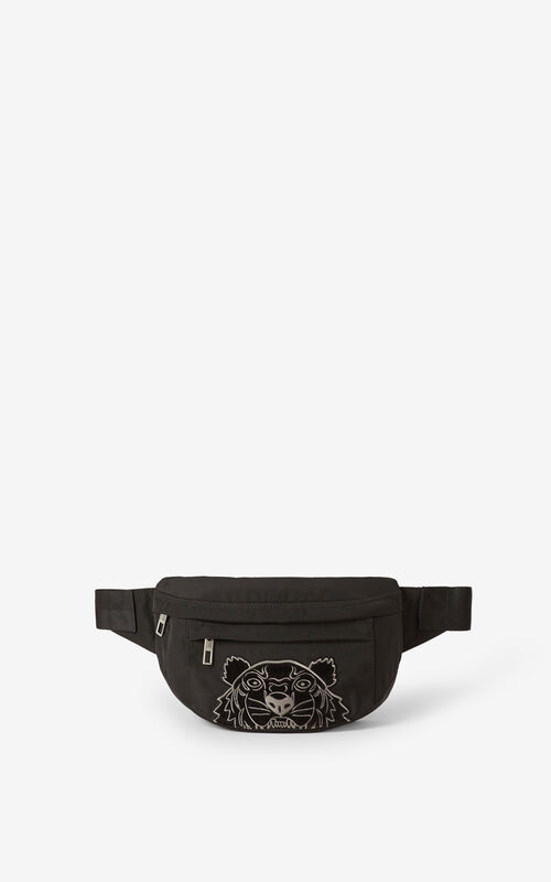 BLACK Kampus Tiger canvas belt bag for unisex KENZO