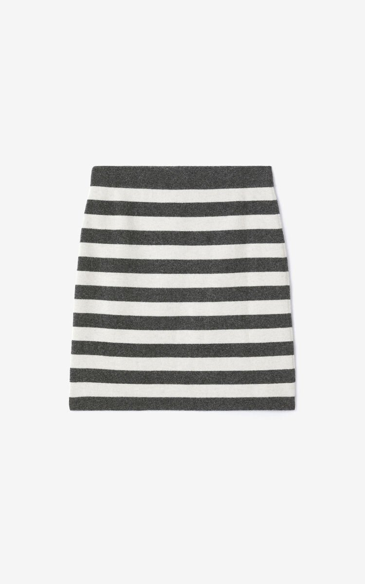 BLACK Striped wool mini skirt for women KENZO