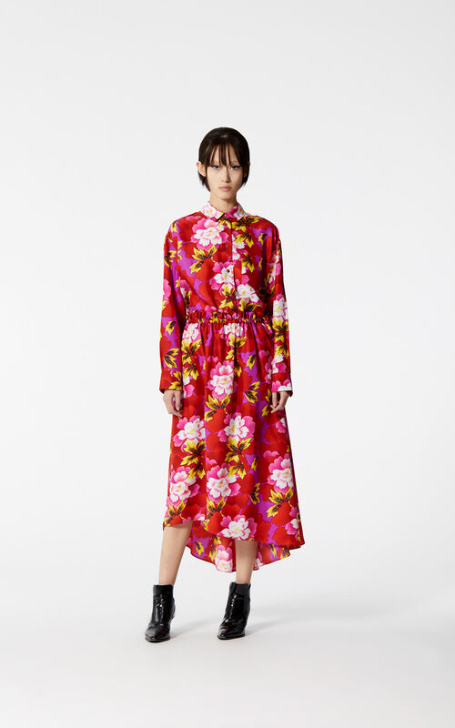 MEDIUM RED 'Indonesian Flower' silk shirt for women KENZO