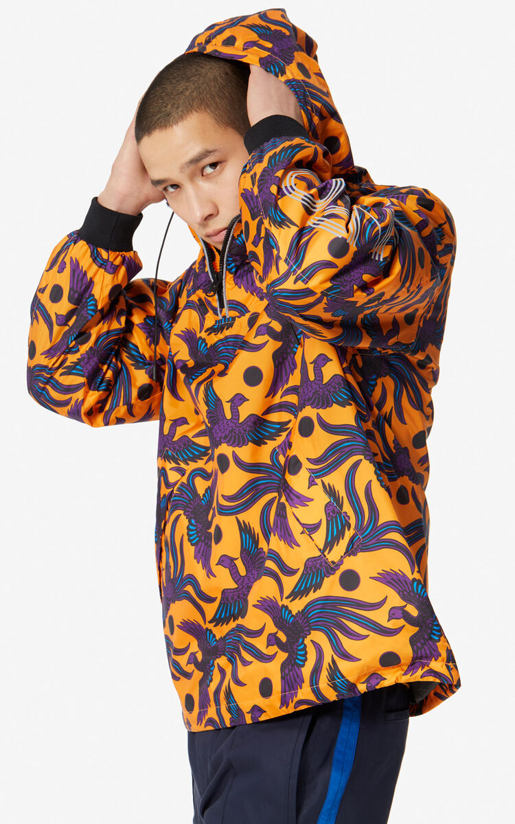 MEDIUM ORANGE 'Flying Phoenix' windbreaker for men KENZO