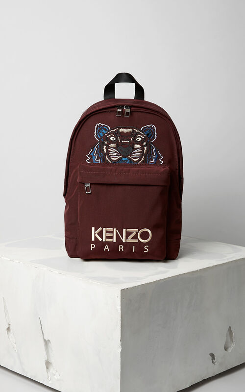 Medium Tiger Canvas Backpack, BORDEAUX, KENZO