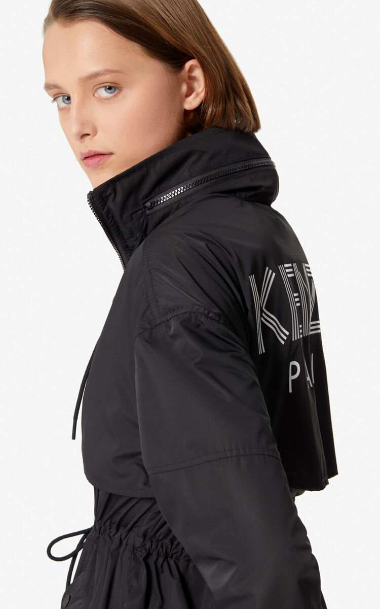 BLACK Wind stopper with printed KENZO logo for women