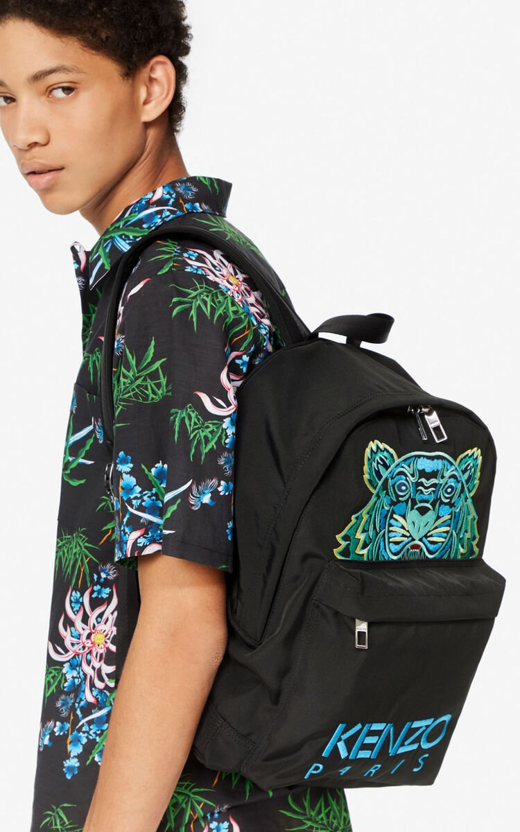 BLACK Large Tiger Canvas backpack for unisex KENZO