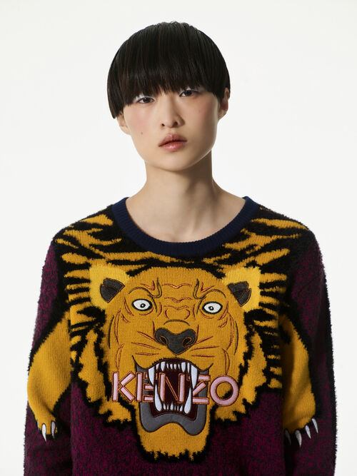 DEEP FUSCHIA Tiger Intarsia Sweater  for women KENZO