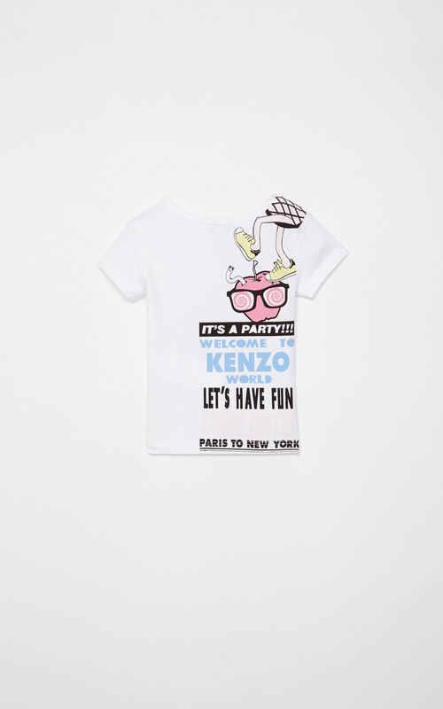 WHITE 'Food Fiesta' t-shirt for women KENZO