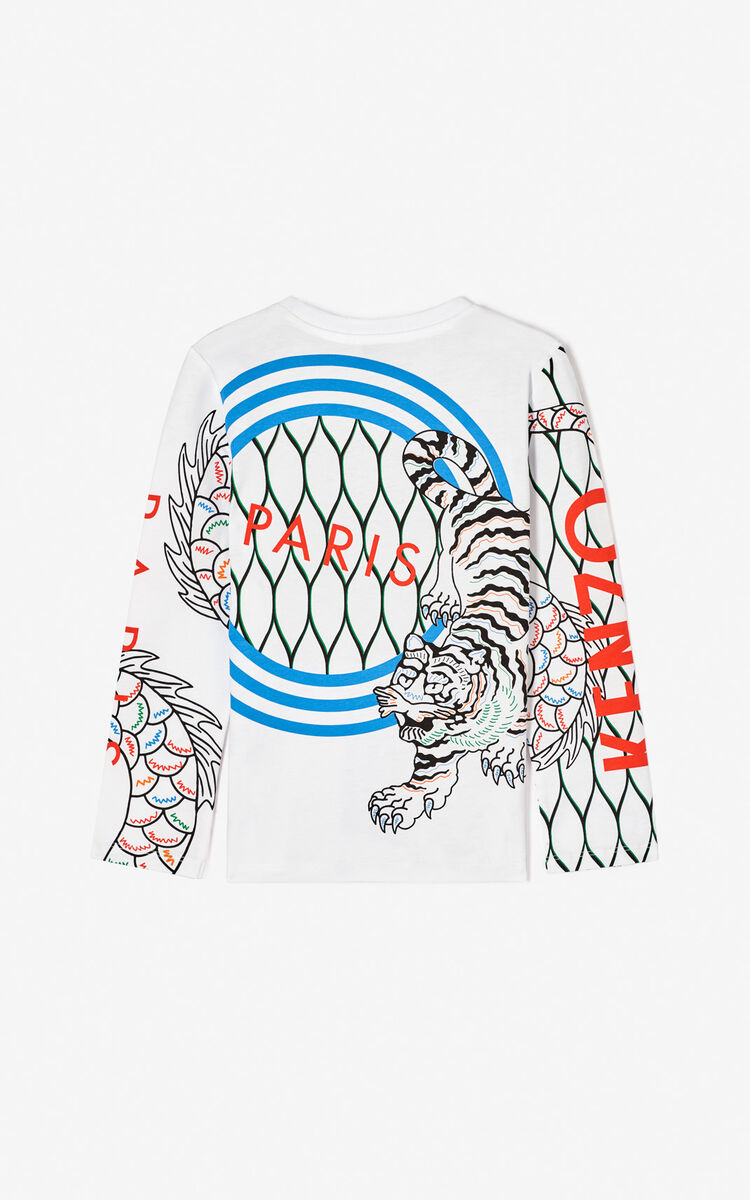WHITE Multi-icon 'Japanese Dragon' T-shirt for men KENZO
