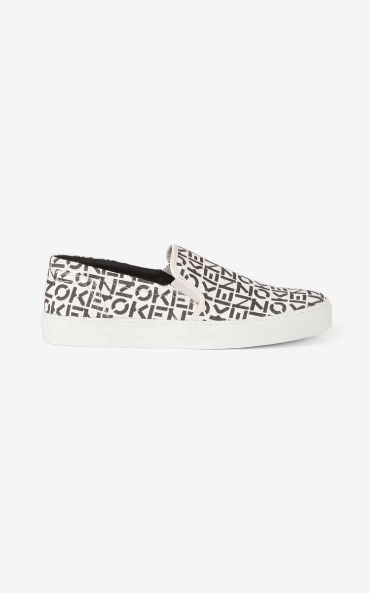 PEARL GREY K-Skate Monogram laceless trainers for unisex KENZO