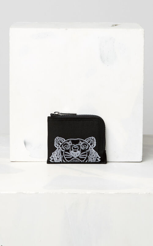BLACK Zipped Tiger purse for unisex KENZO