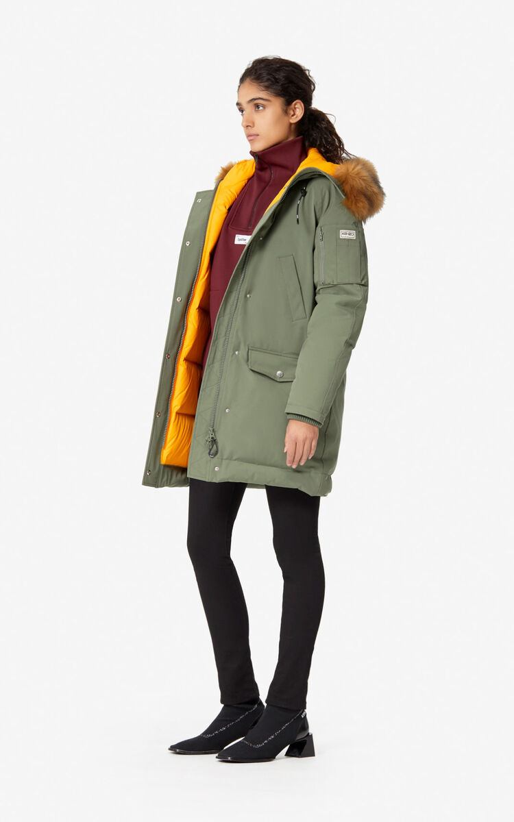 TAUPE KHAKI Long parka jacket with hood for women KENZO