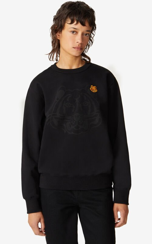 BLACK K-Tiger sweatshirt for women KENZO