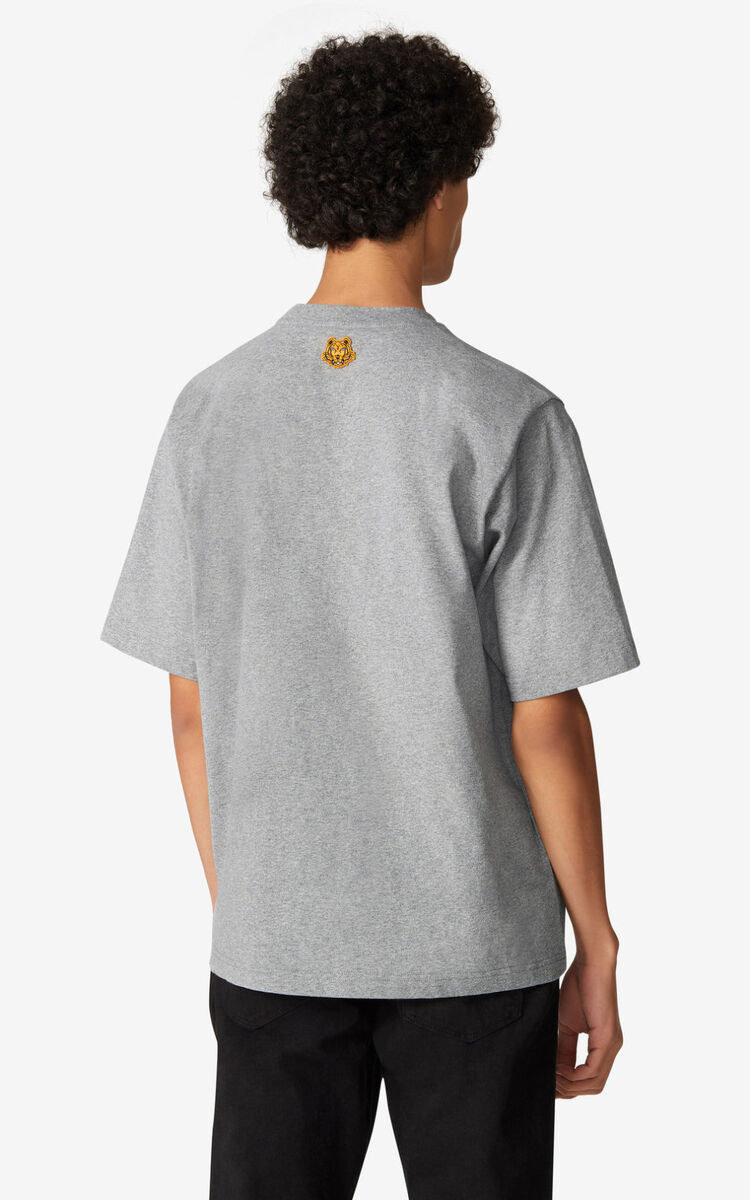 PEARL GREY K-Tiger oversized T-shirt for men KENZO