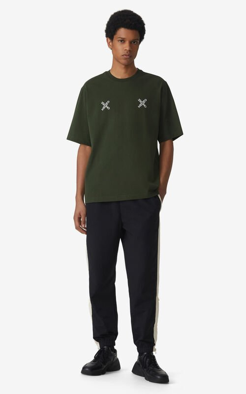 DARK KHAKI Oversized KENZO Sport 'Triple X' t-shirt for men