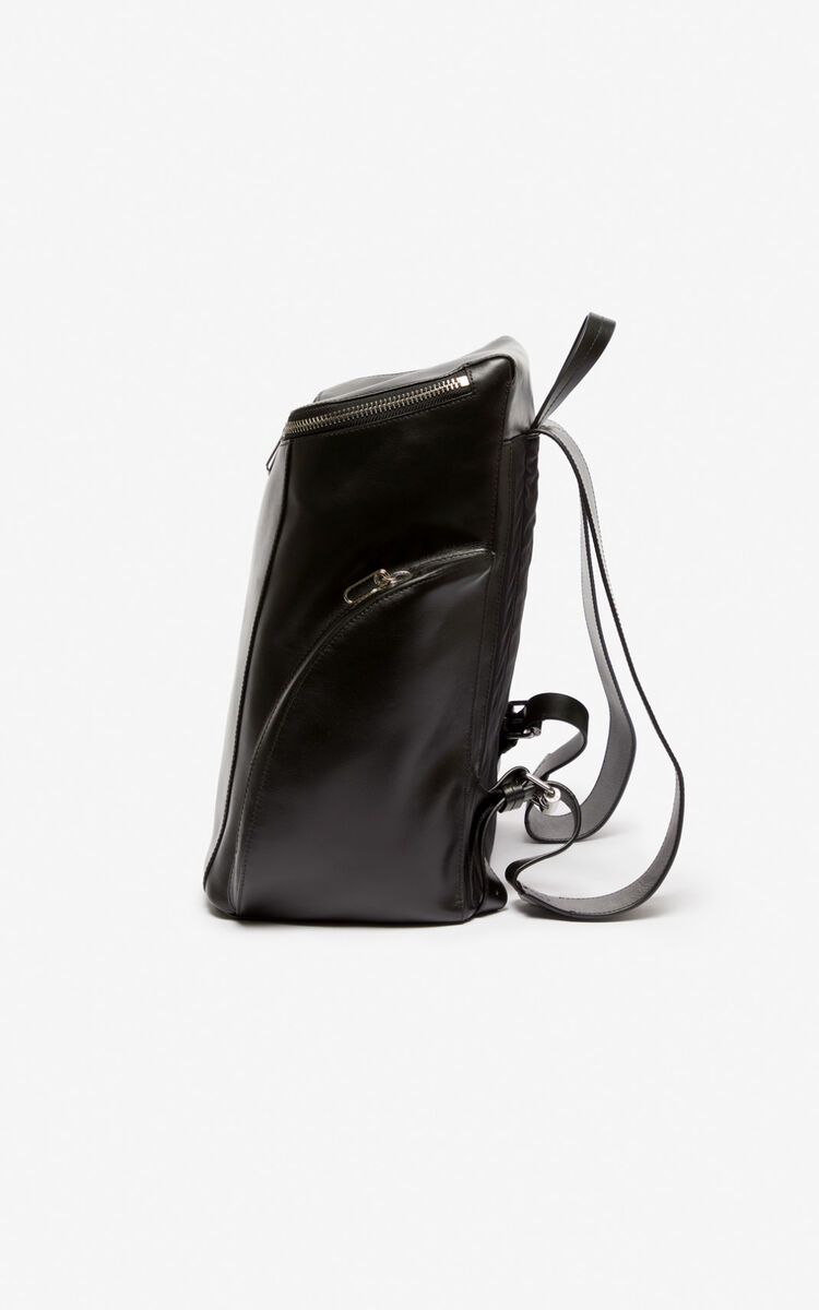 BLACK KENZO Logo leather Backpack for unisex