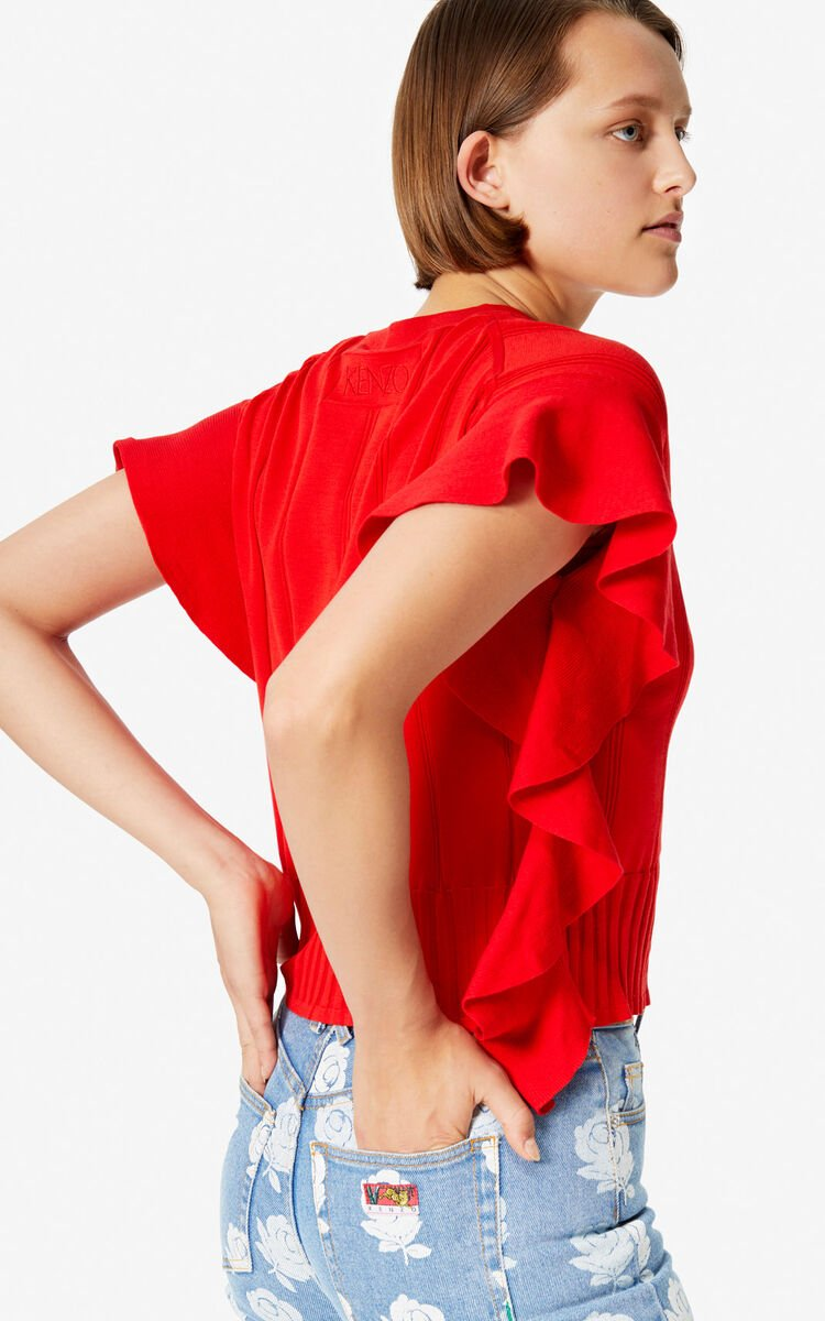 MEDIUM RED Ruffle top for women KENZO