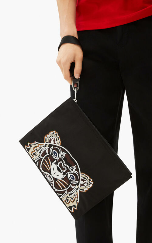 BLACK Large canvas Kampus Tiger pouch   for men KENZO