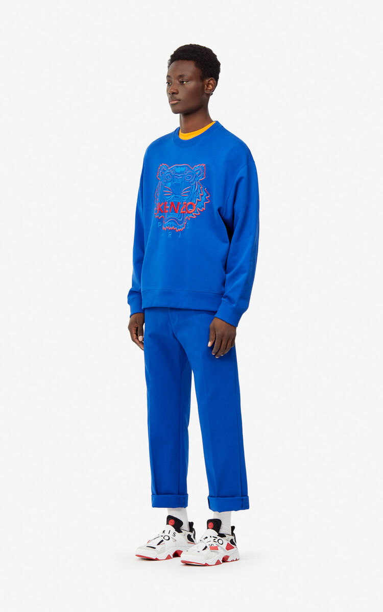 FRENCH BLUE Two-tone Tiger sweatshirt for men KENZO