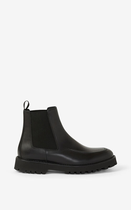 BLACK K-MOUNT leather Chelsea boots for unisex KENZO