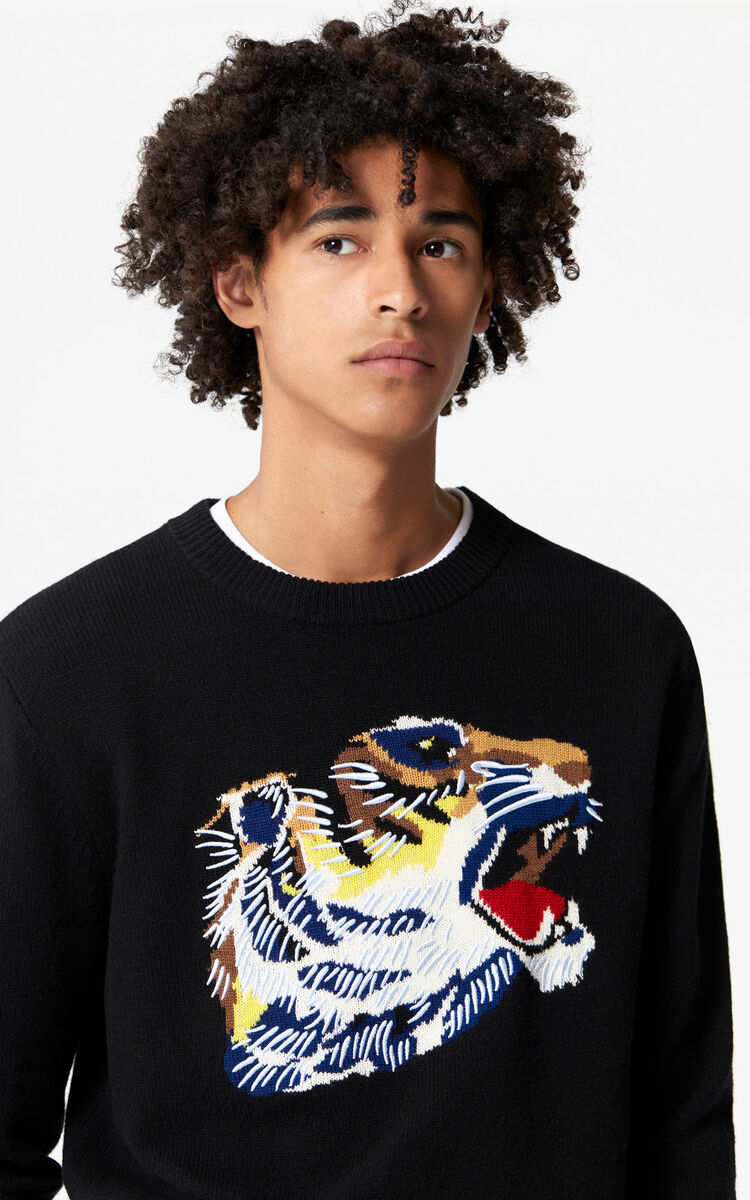 BLACK 'Tiger Head' jumper 'Go Tigers Capsule' for unisex KENZO