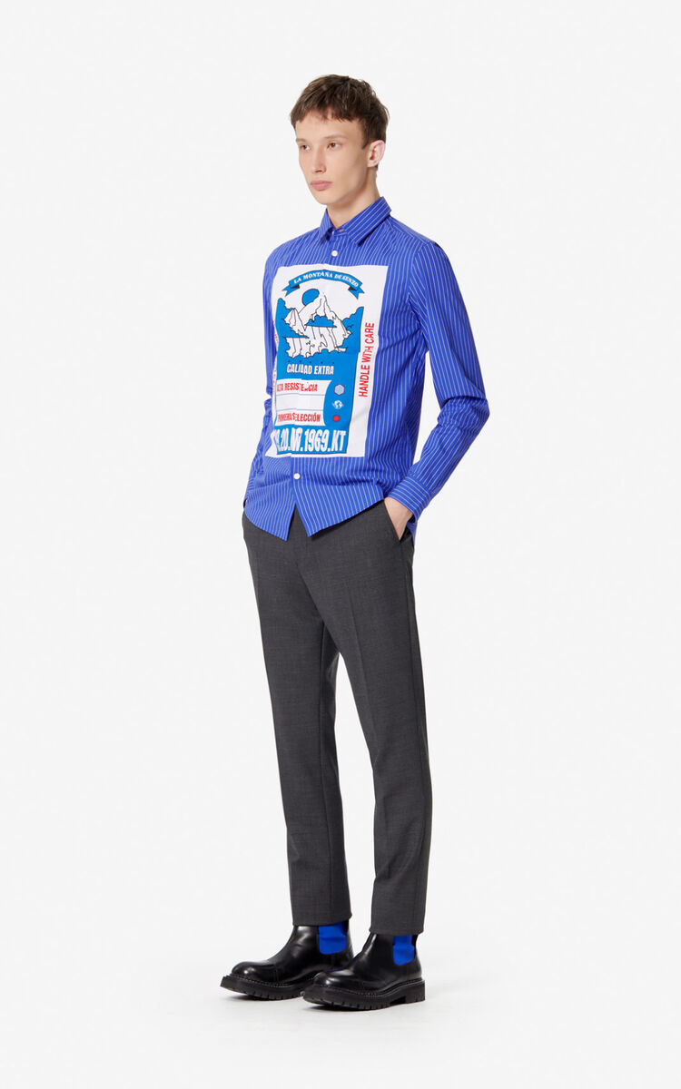 ELECTRIC BLUE 'KENZO Mountain' striped slim-fit shirt for men