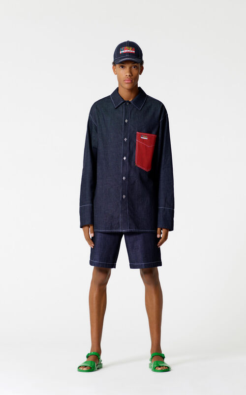 NAVY BLUE Denim bermuda shorts for men KENZO