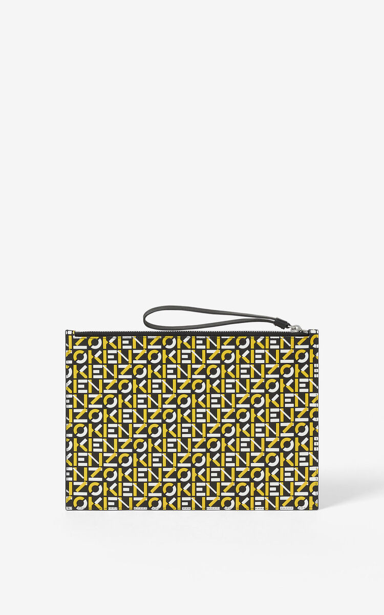 GOLDEN YELLOW Large monogram leather clutch  for men KENZO