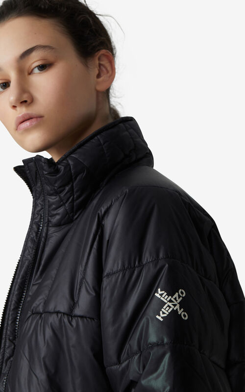 BLACK KENZO Sport 'Little X' short winter parka for women