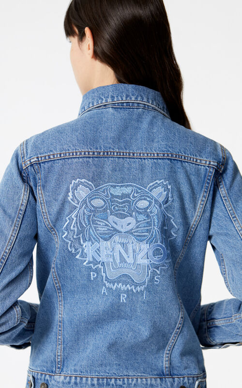 LIGHT BLUE Tiger denim jacket for women KENZO