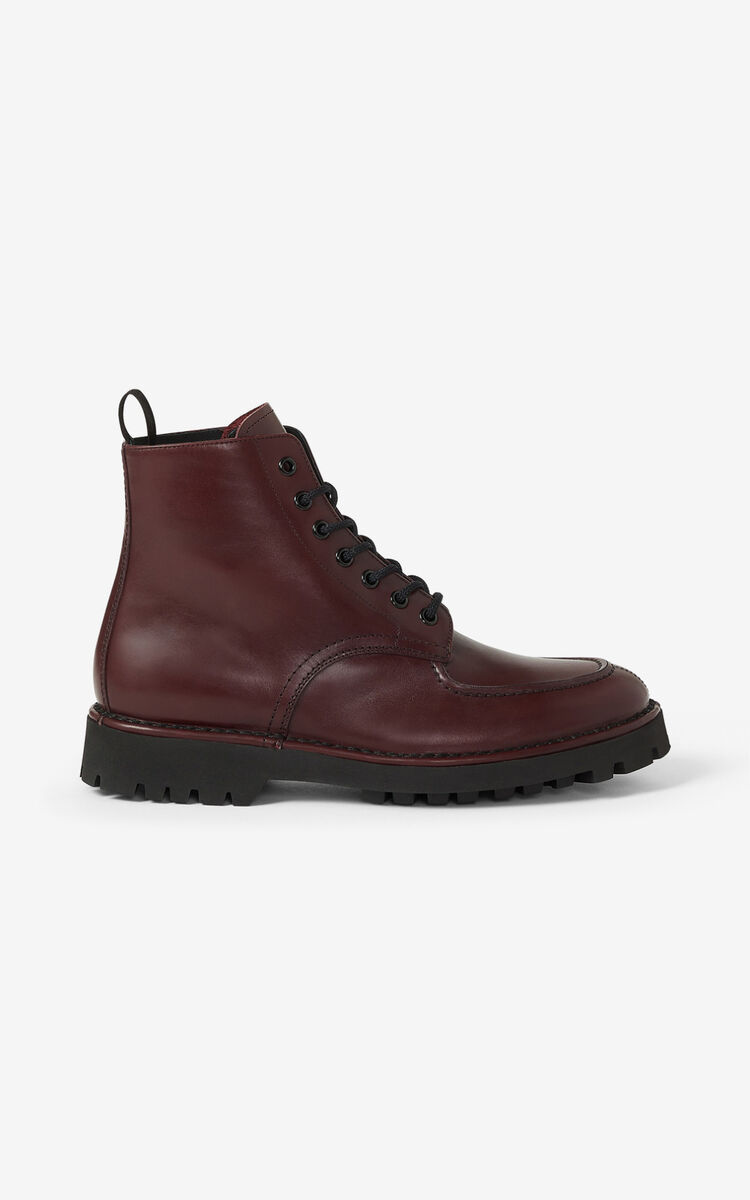BORDEAUX K-MOUNT laced leather ankle boots  for unisex KENZO