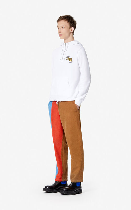 WHITE 'Jumping Tiger' hooded sweatshirt for men KENZO