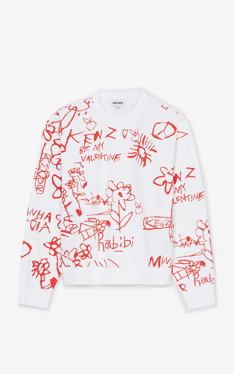 WHITE Valentine's Day Capsule 'Be my Valentine' sweatshirt  for men KENZO