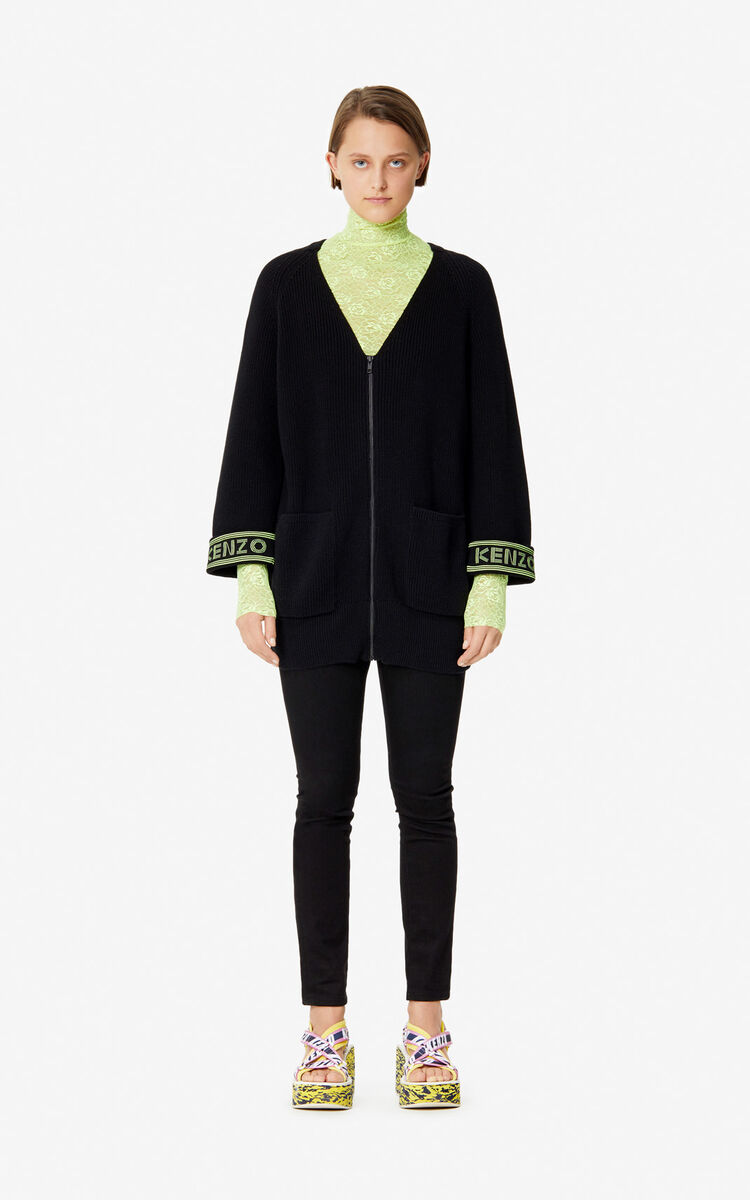 BLACK KENZO Logo cardigan for women