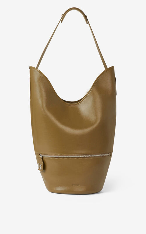 KHAKI Large KENZO Onda leather bucket bag for unisex