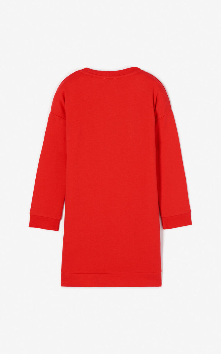 MEDIUM RED 'Japanese Tiger' sweatshirt dress for women KENZO