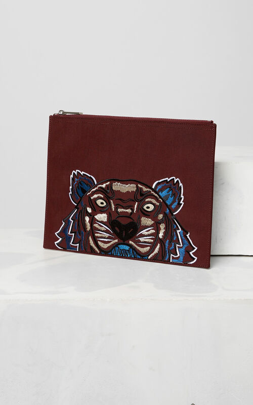 Tiger Canvas Clutch, BORDEAUX, KENZO