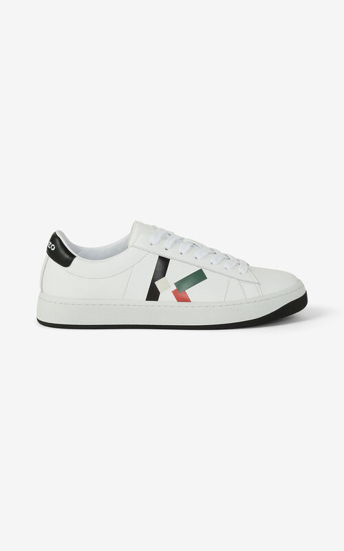 BOTTLE GREEN KENZO Kourt K Logo leather sneakers for men