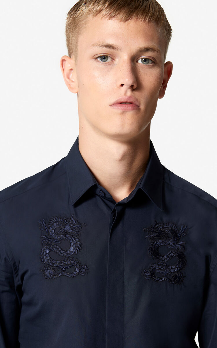 NAVY BLUE Embroidered Dragon shirt 'Holiday Capsule' for women KENZO