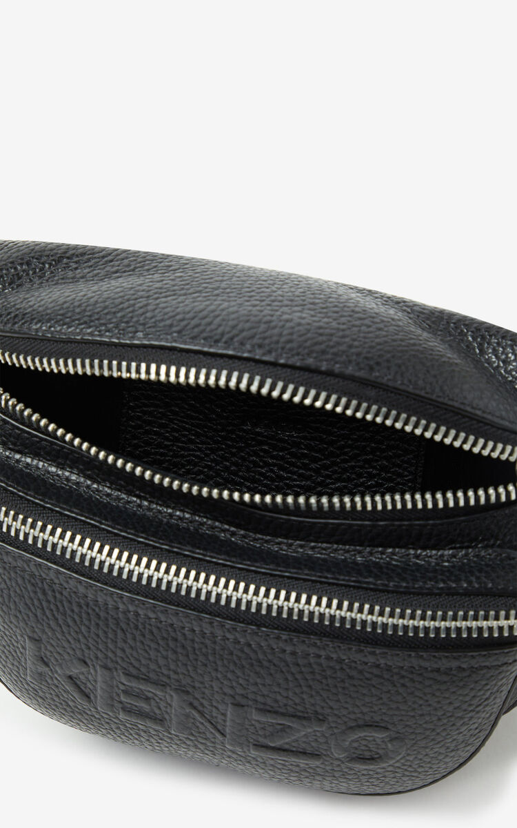 BLACK KENZO Imprint grained leather bumbag for unisex