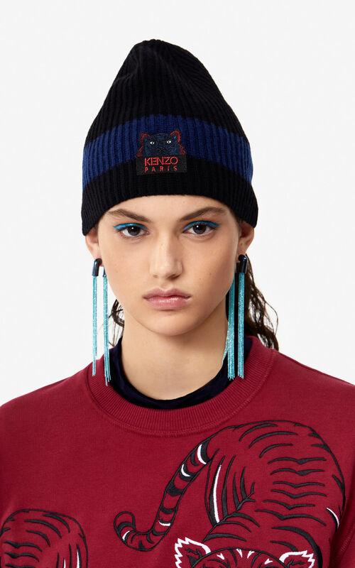 MIDNIGHT BLUE Tiger wool beanie 'Holiday Capsule' for men KENZO