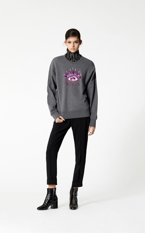 DARK GREY Eye sequinned sweatshirt for women KENZO