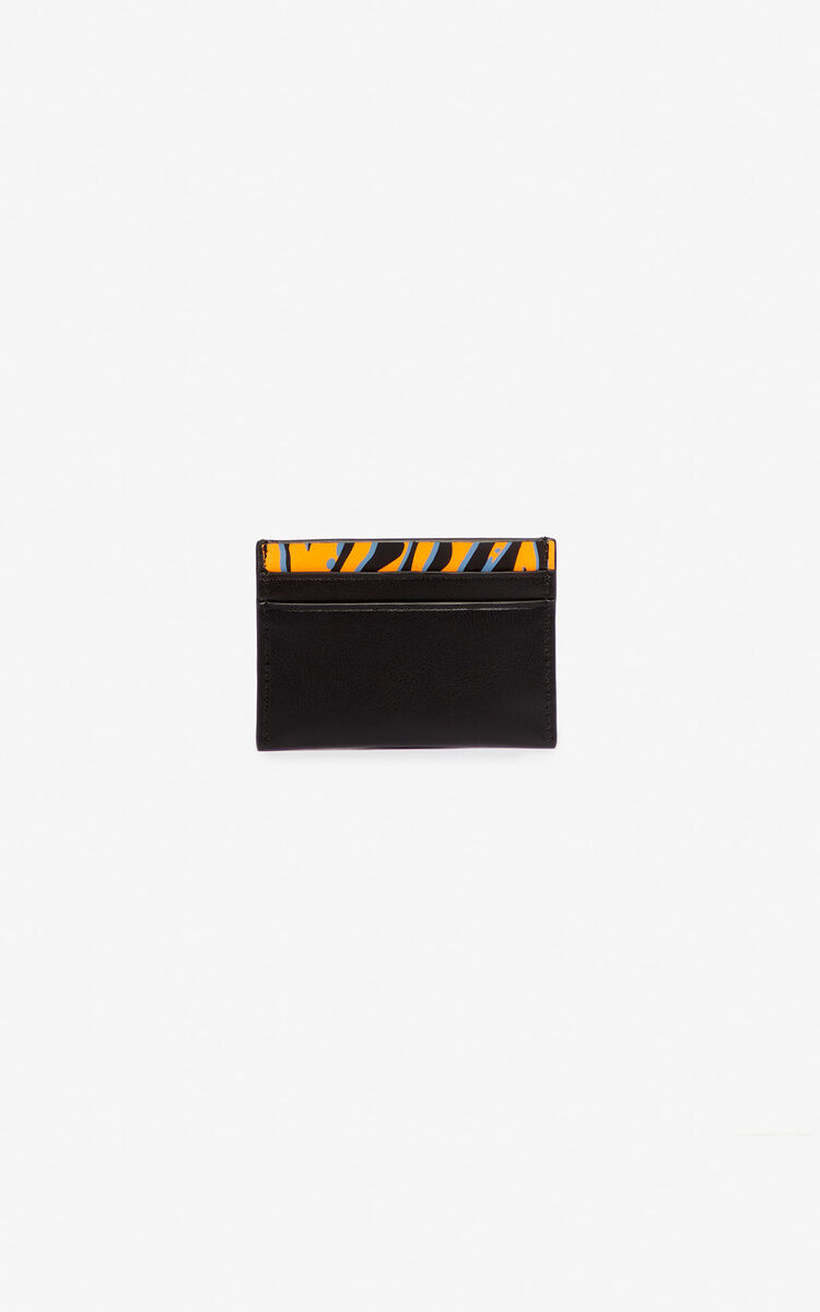 BLACK 'Tiny Tiger' leather card holder for unisex KENZO