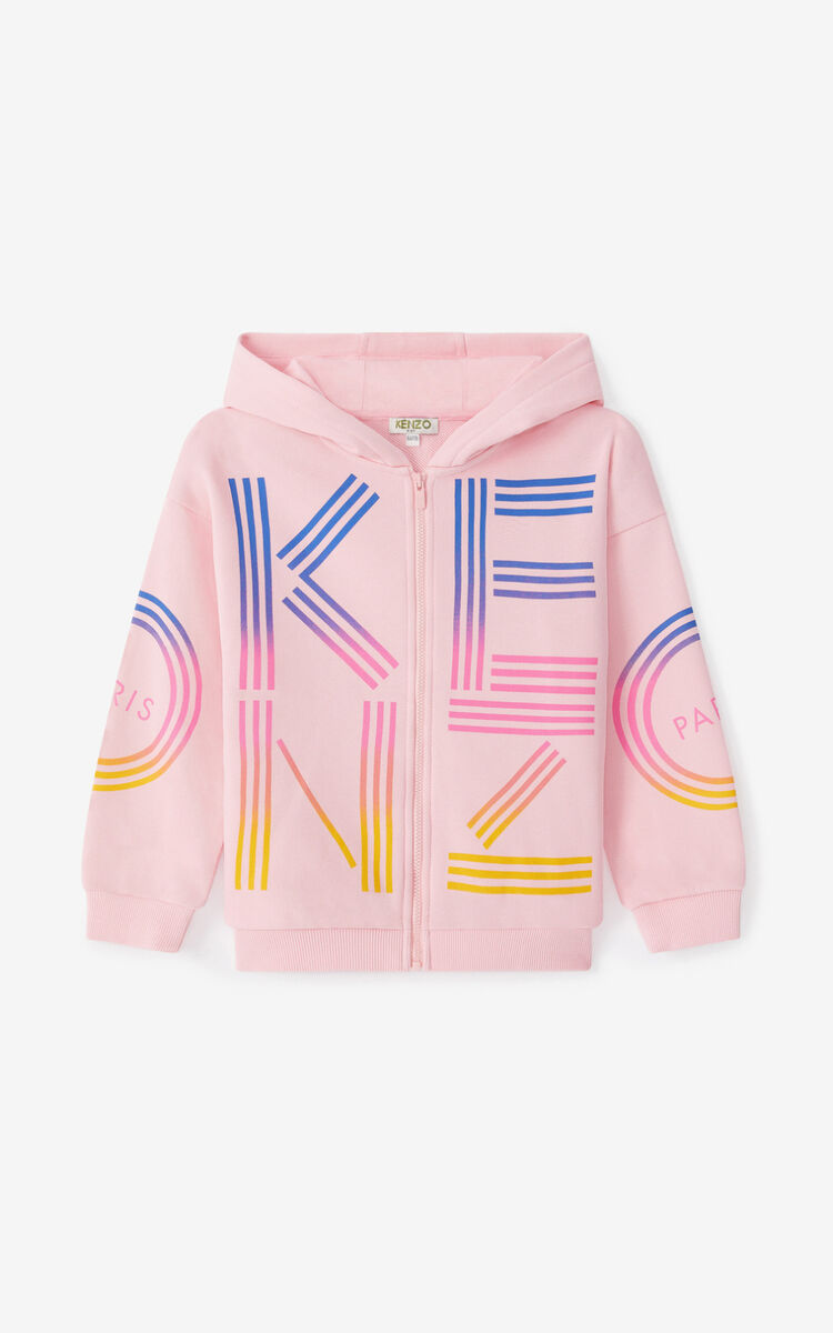 FLAMINGO PINK KENZO Sport hooded zip-up sweatshirt for unisex