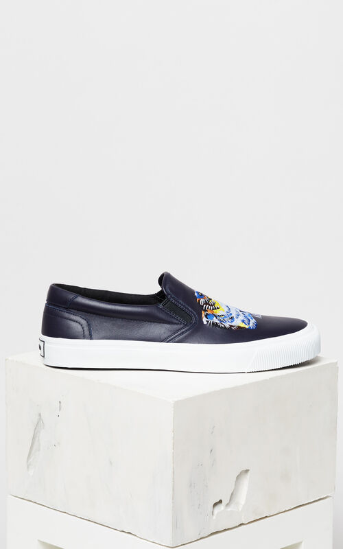 NAVY BLUE 'Tiger Head' Leather Slip-On Trainers 'Go Tigers Capsule' for unisex KENZO