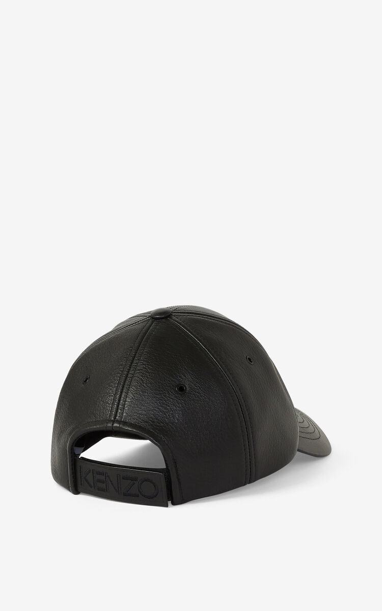BLACK Leather Kampus Tiger cap for women KENZO