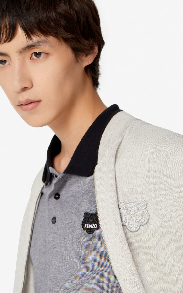 PEARL GREY Tiger zipped cardigan for men KENZO