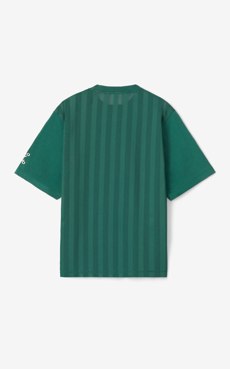 GREEN KENZO Sport 'Little X' T-shirt with mesh for men