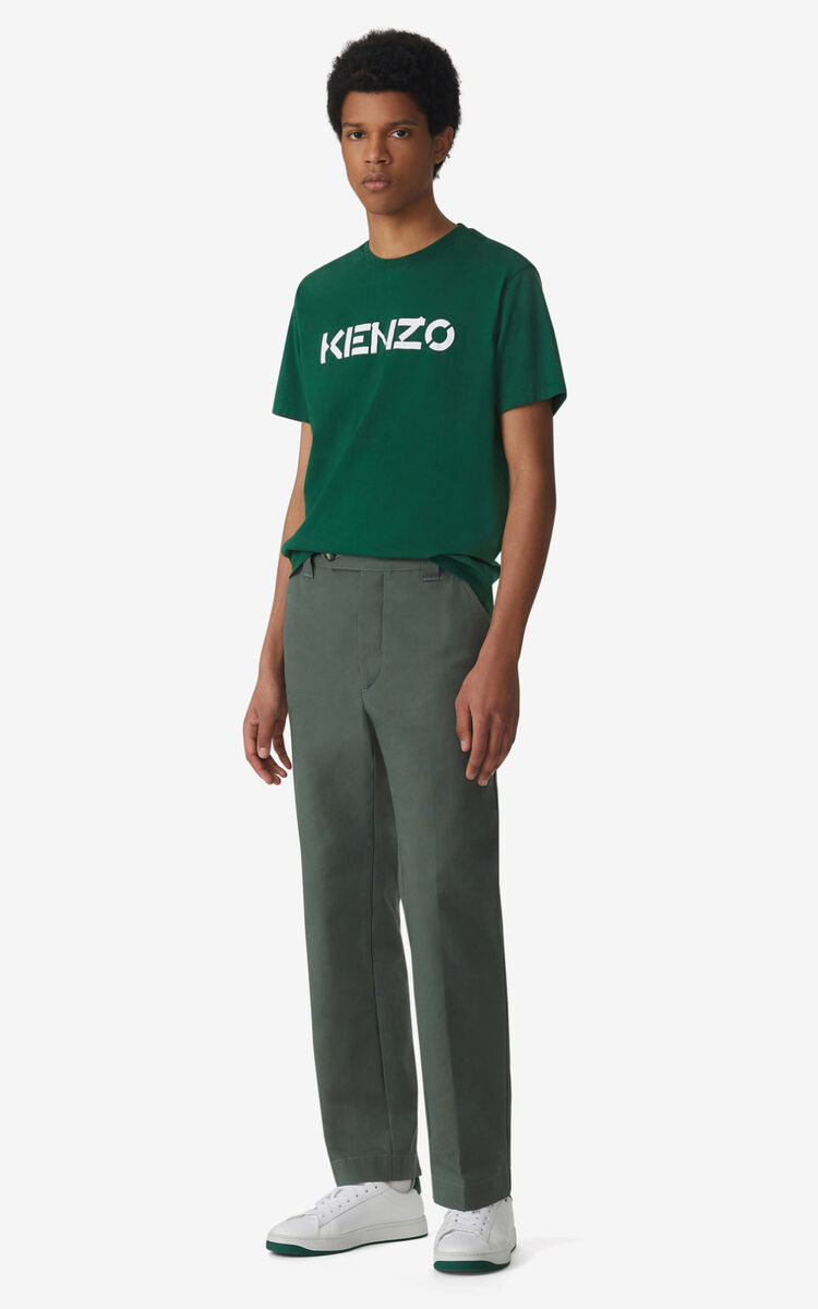 BOTTLE GREEN KENZO Logo t-shirt for men