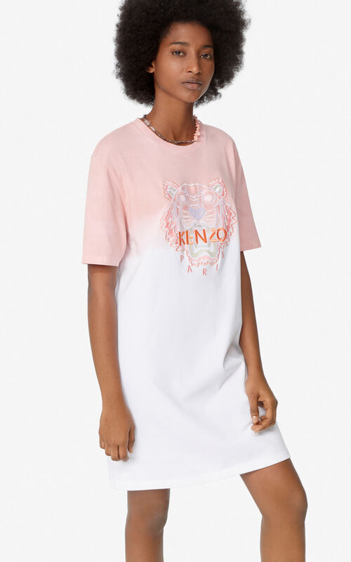 FLAMINGO PINK Tiger gradient t-shirt dress  for women KENZO
