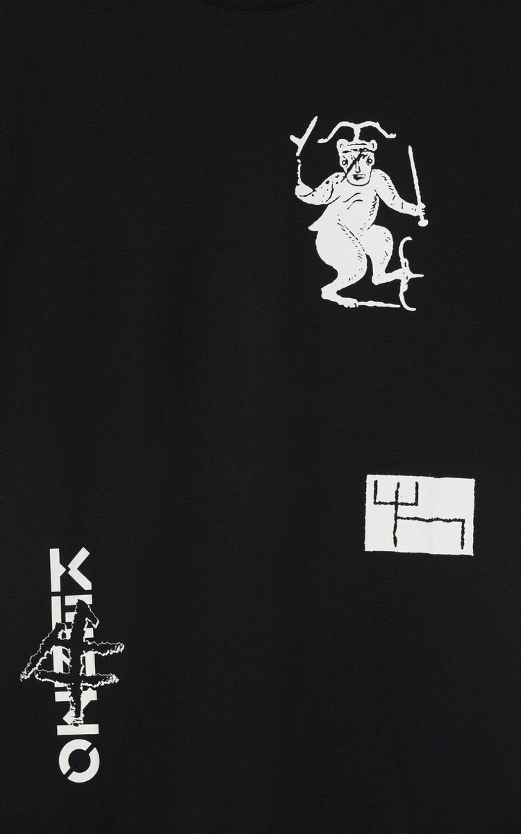 BLACK 'Sign & Symbol' oversize T-shirt for men KENZO